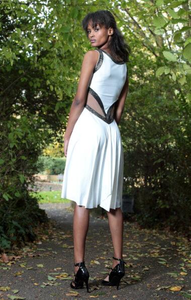 A back view of the white capri tango dress
