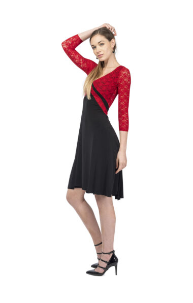 A stylish v argentine tango dress with a long sleeves option