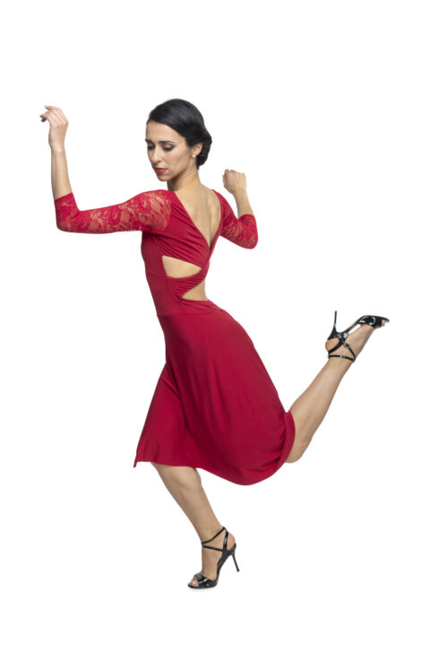 Red Ferrari tango dress with sleeves