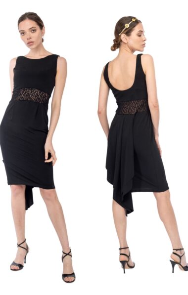 Fishtail tango dress black