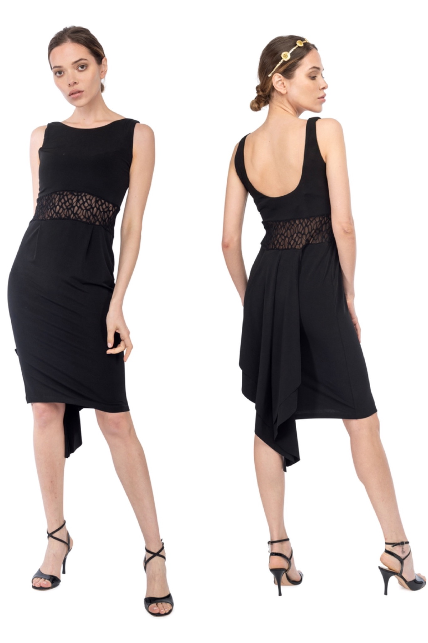 Fishtail tango dress black