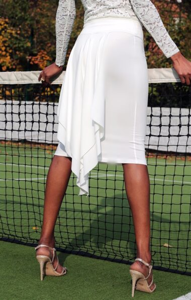 white tango skirt with fishtail ideal for wedding dances and summer milongas