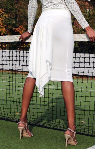 A white fishtail tango skirt