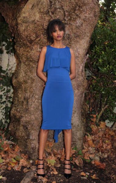 A woman in a striking blue Tango dress