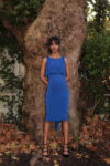 A blue fishtail skirt and simple top set