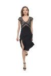 An elegant V tango dress with multiglitter tulle
