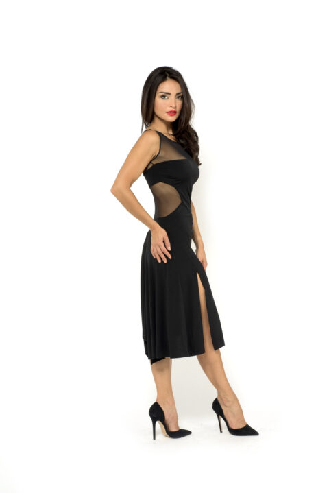 A woman in a black dress